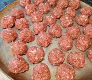 Meatballs ready to be baked