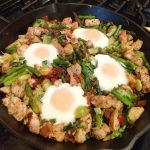 Chicken, bacon, veggie skillet