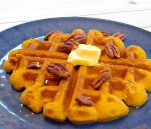 Cinnamon Pumpkin Waffles with Pecans (paleo, grain free)