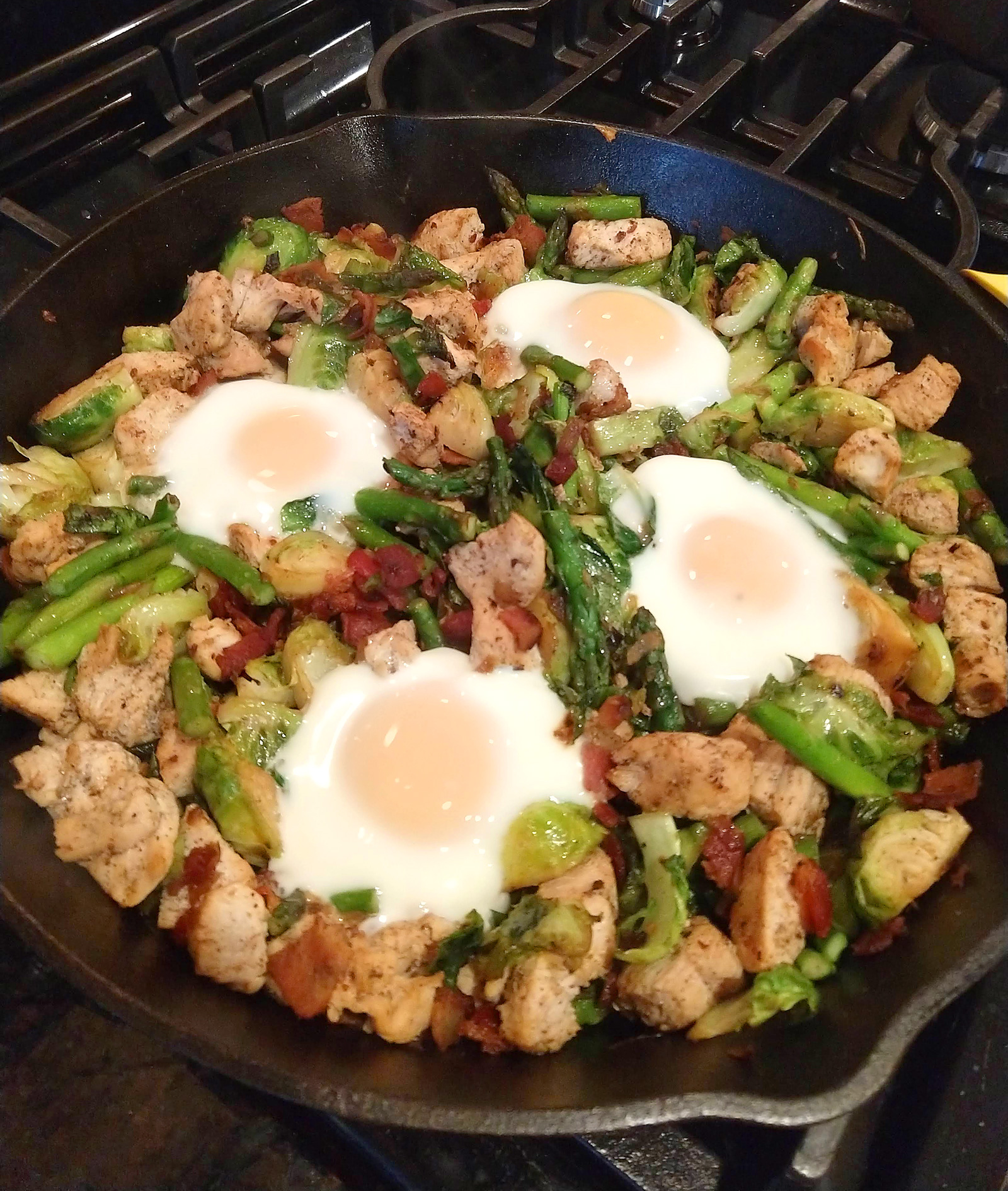 Chicken, Bacon, Asparagus, & Brussels Sprouts Skillet