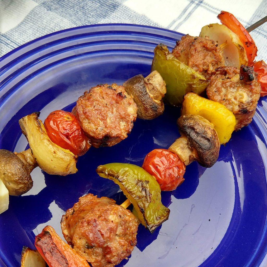 Grilled Sausage kebabs